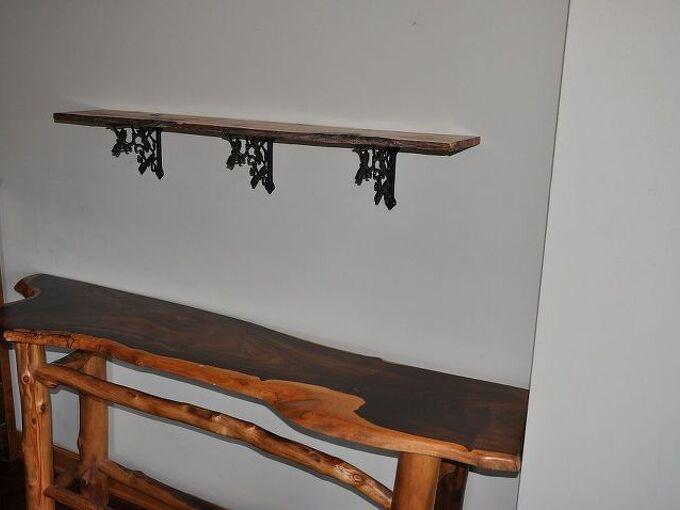 dragonfly shelf with locally harvested juniper, home decor, shelving ideas, Juniper slab shelf above cocobolo slab table below