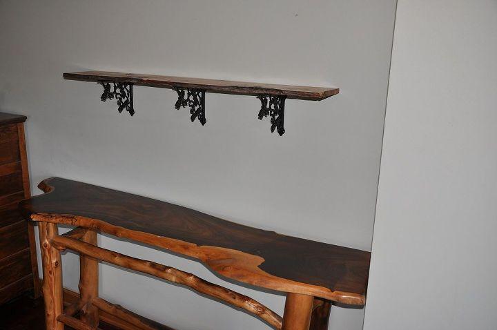 Juniper slab shelf above...cocobolo slab table below.