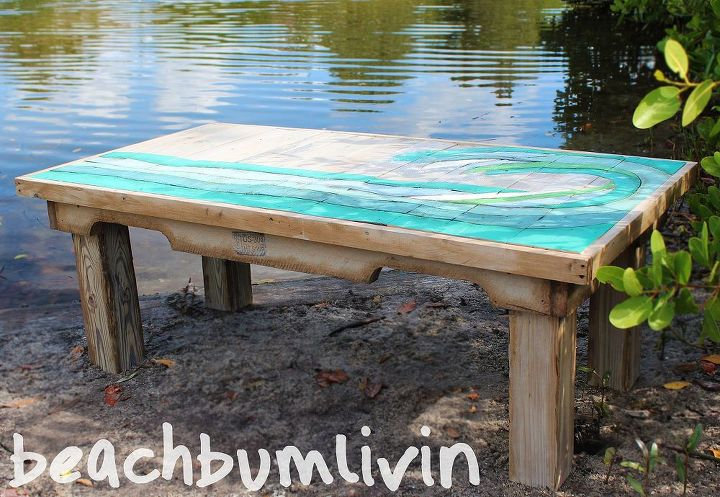 http://beachbumlivin.com Pallet Wood Coffee Table-The Wave