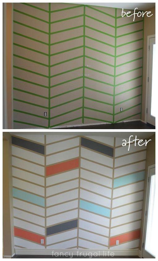 diy herringbone pattern accent wall using tape, diy, painting, wall decor