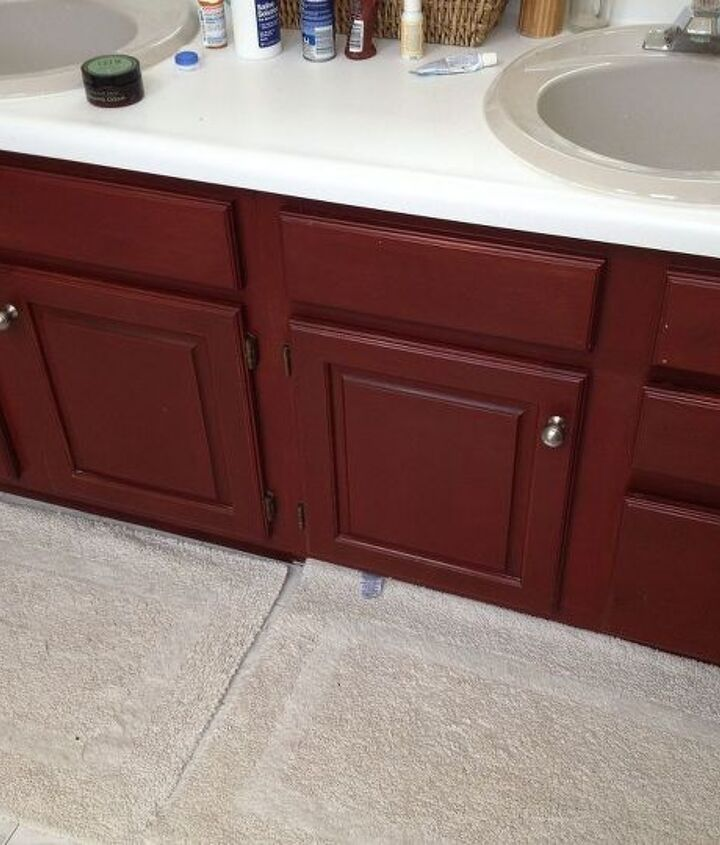 Red Stained Vanity- BEFORE