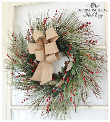 I Added Christmas Greenery To The Twig Wreath Along With Little Red Berries