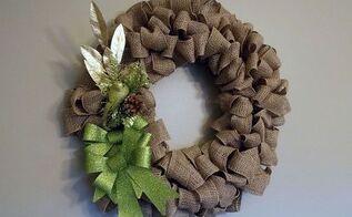 making my fall burlap wreath a christmas burlap wreath, christmas decorations, crafts, seasonal holiday decor, wreaths