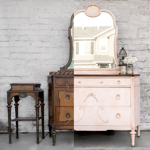 how to create the marbled look on a pink dresser, painted furniture