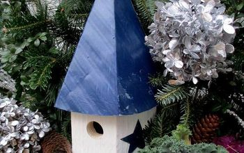 winter window box decorating, gardening, outdoor living, seasonal holiday decor, Close up of one of the birdhouse window boxes