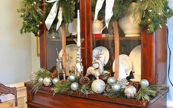 No Mantel?  Use a Hutch to Create a Christmas Vignette. {Our English Hutch in Silver and Blue}