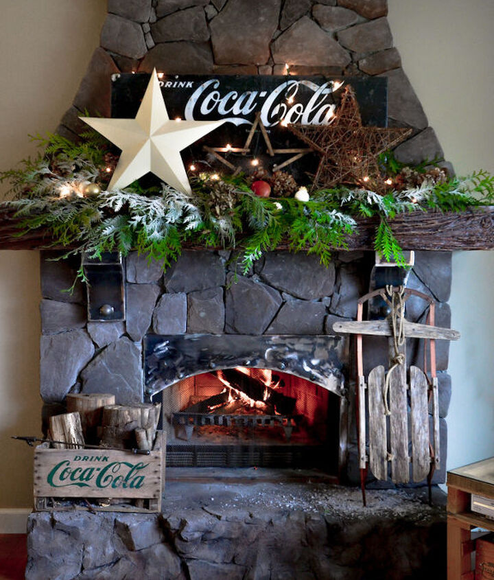 This Coke inspired mantel makes me smile real big! It's funky and junky, so it passed.