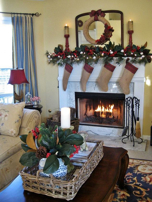 My rustic and cozy christmas mantelburlap and plaid hometalk my rustic and cozy christmas mantel burlap and plaid christmas decorations crafts home teraionfo