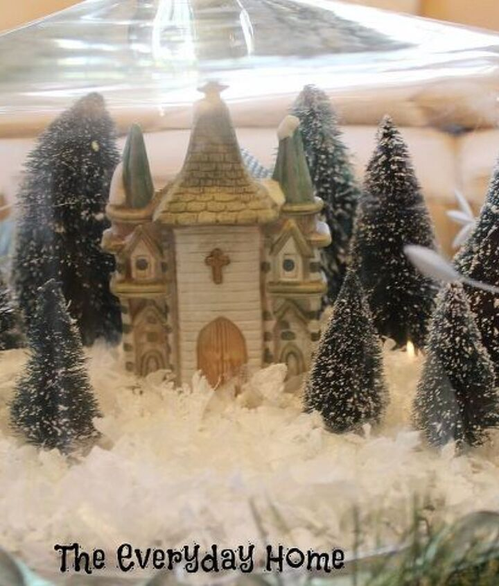 create a mini snow village with cake plates and cloches, christmas decorations, seasonal holiday decor