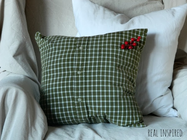 men s shirt turned into a pillow, home decor, repurposing upcycling, reupholster