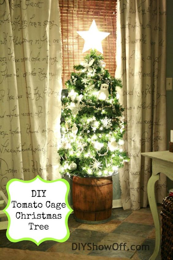 Tomato cage + faux pine garland with lights. An old barrel makes for a great tree base.