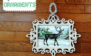glass glitter frame ornaments, christmas decorations, crafts, seasonal holiday decor, Glass Glitter Frame Ornament with Reindeer