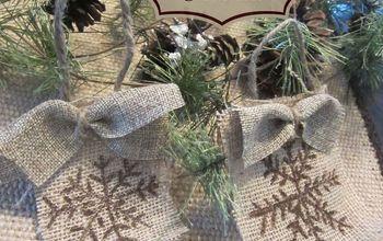 Snowflake Burlap Christmas Ornament
