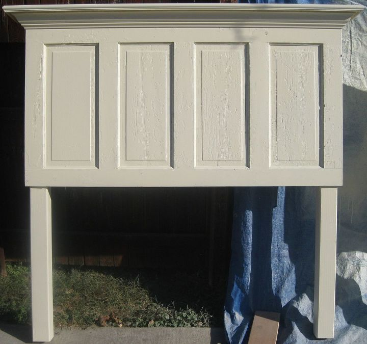 queen size 4 panel door headboard, painted furniture, repurposing upcycling, shabby chic