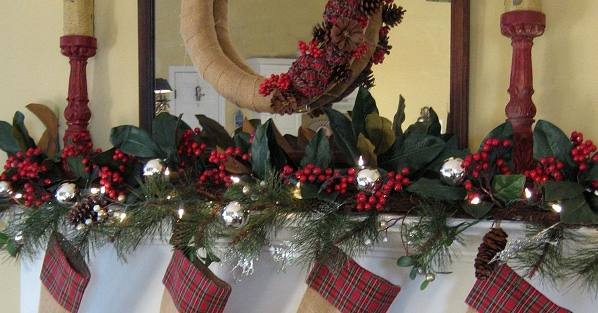 my rustic and cozy christmas mantelburlap and plaid hometalk