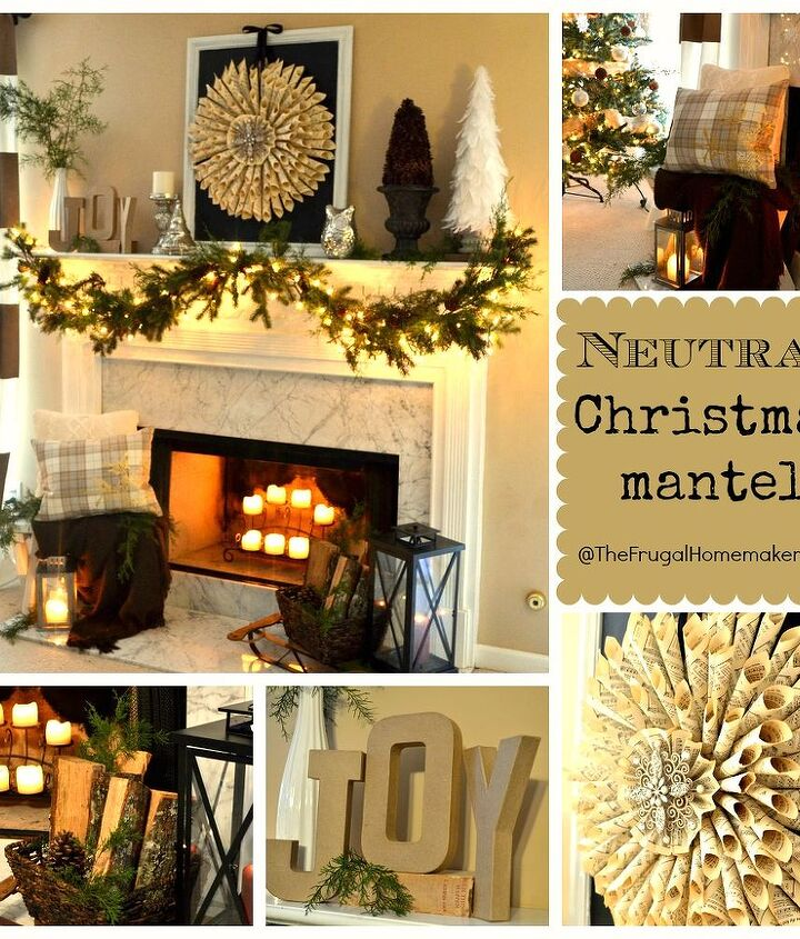 neutral christmas mantel, christmas decorations, crafts, seasonal holiday decor, wreaths