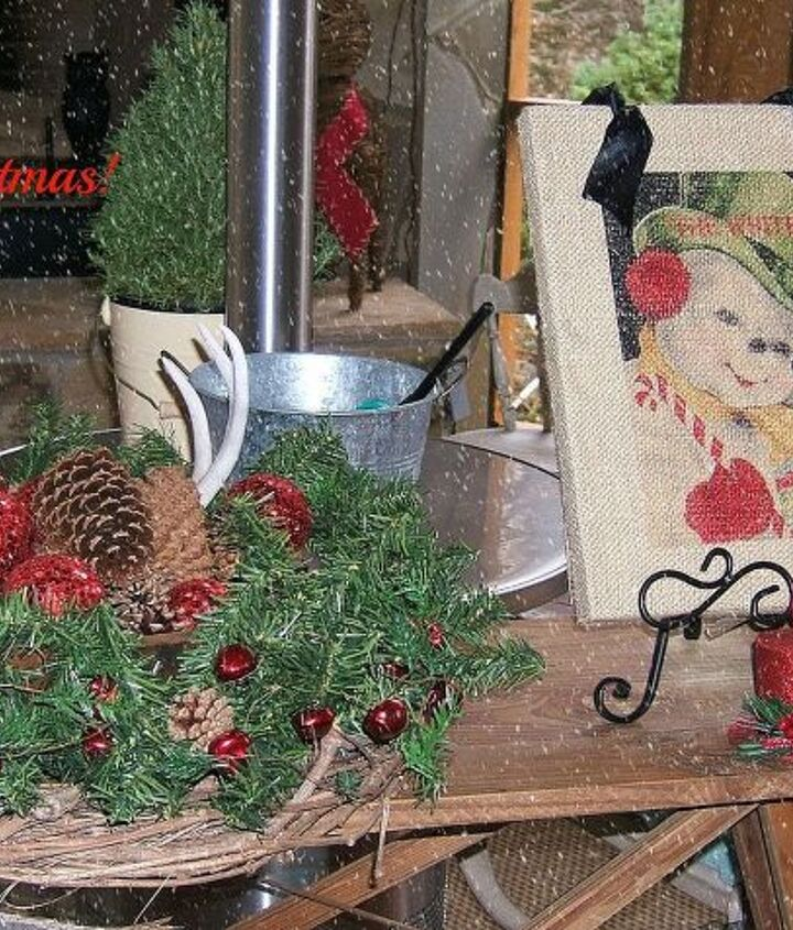 A vintage ironing board dressed up for the holidays