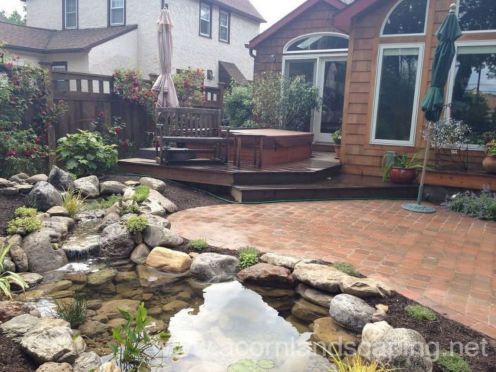 Fish Pond Designs Stunning landscape design ideas wfish pond paver patio by acorn water garden pond landscape design lighting paver patio renovation in rochester ny concrete masonry workwithnaturefo
