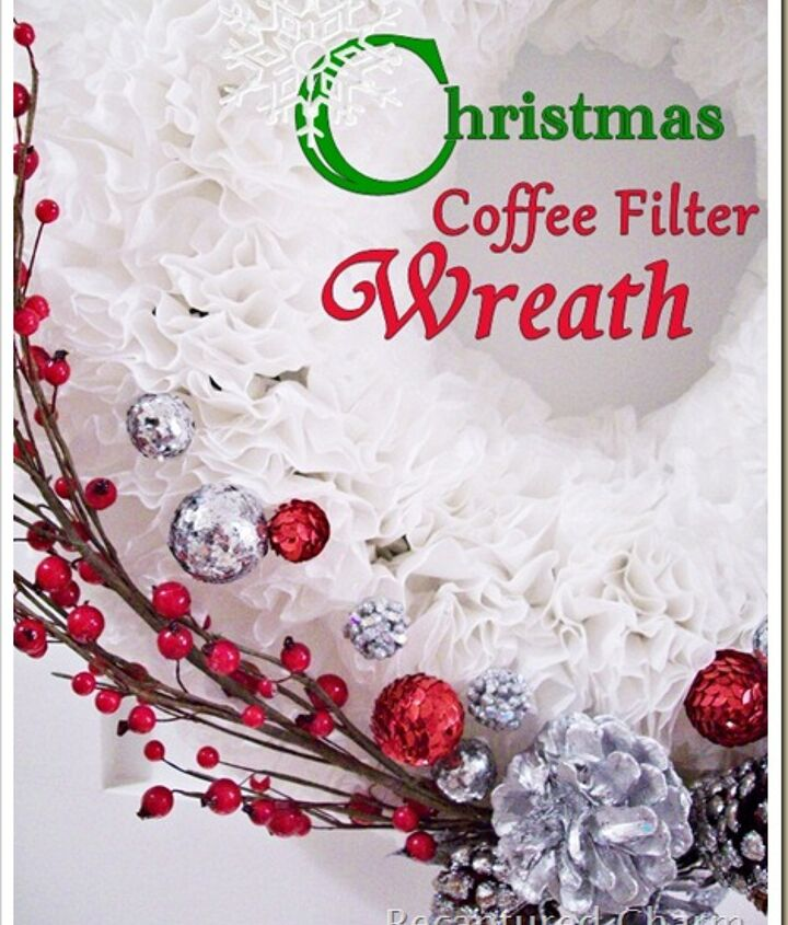 White coffee filters with some added decorations of your choice  http://www.recapturedcharm.com/2011/12/coffee-filter-christmas-wreath.html
