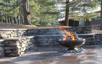 stone wall and patio with fire pit, outdoor living, patio, Natural stone wall and patio with fire pit Ypsilanti MI This picture shows why we chose the materials that we did because of the strong northern vibe