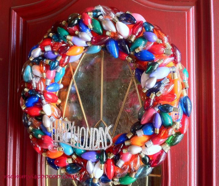 christmas wreath made from burnt out christmas lights hometalk