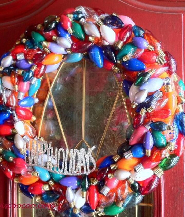 Wreath made from burnt out Christmas lights!