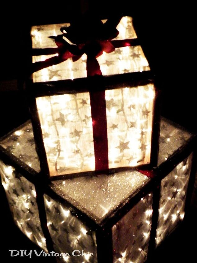 outdoor lighted christmas presents, crafts, seasonal holiday decor, Please see my blog for detailed step by step instructions
