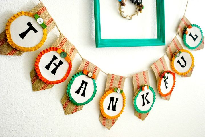 how to use embroidery hoops to make a thanksgiving banner, crafts, how to, seasonal holiday decor, thanksgiving decorations