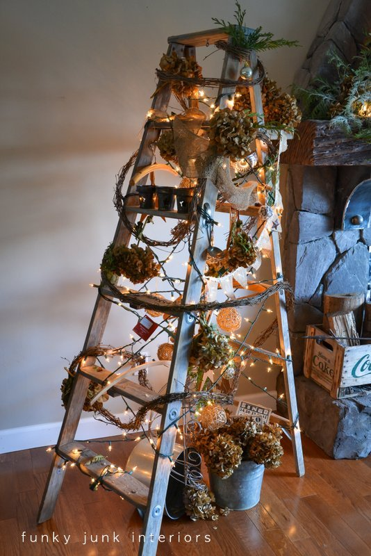 A theme of spent hydrangeas,vintage influences and nature were the theme on this fun take on a tree. (inspired by Eclectically Vintage's last year's ladder tree, see blog post)