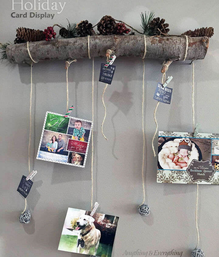 how to turn a tree branch into a holiday card holder, christmas decorations, crafts, seasonal holiday decor