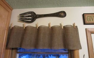 quick easy and cheap burlap valances, crafts, window treatments, Last year I made these burlap valances for my kitchen windows