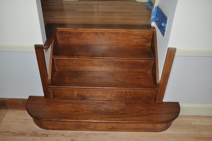 walnut stair refinish, home decor, stairs, Solid Walnut treads and risers