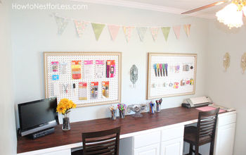 organized craft room, craft rooms, organizing, Two large peg boards with hooks make items within an arm s reach