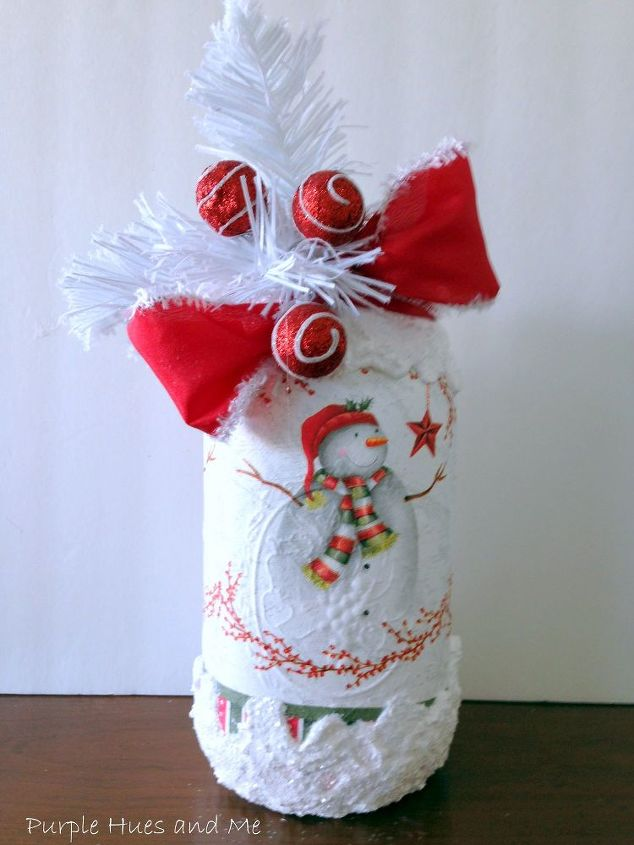 how to decoupage christmas napkins on mason jar with snow, christmas decorations, crafts, mason jars, seasonal holiday decor