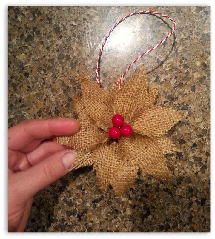 how to make burlap poinsettia christmas ornaments christmas decorations crafts seasonal holiday decor - Burlap Christmas Decorations To Make