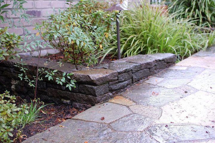lake front stone walls, concrete masonry, outdoor living