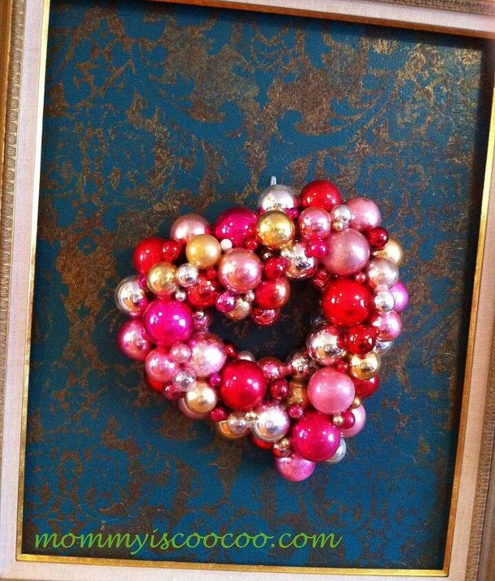 Valentine Ornament Wreath made from Christmas Ornaments