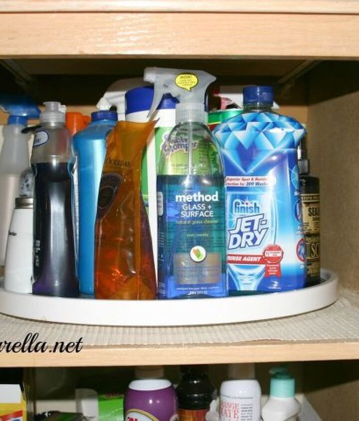 Lazy Susan under the sink for cleaning supplies