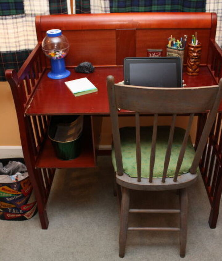 Changing table upcycled into a functional desk in use