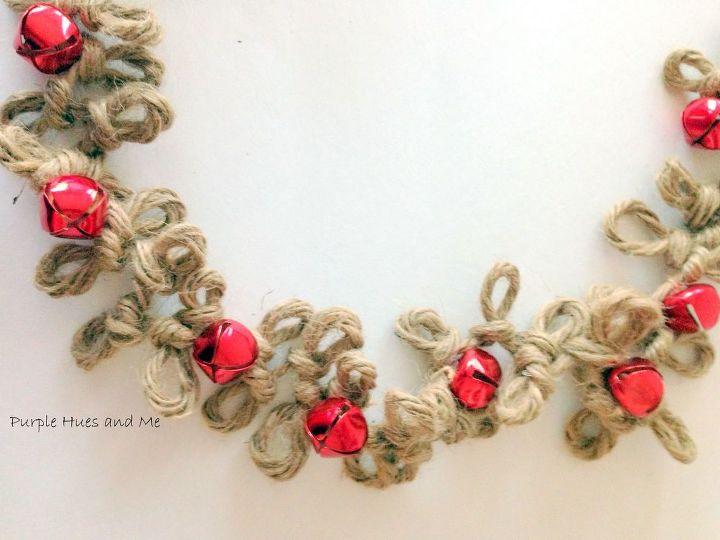 loopy jute twine garland with bells, crafts, seasonal holiday decor, wreaths