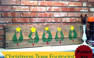 christmas tree pallet art idea with footprints, christmas decorations, crafts, pallet, Footprint Christmas Tree Pallet Art