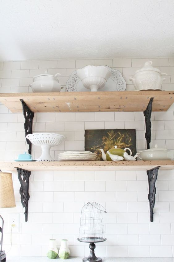 The rustic shelves are reclaimed wood from Southern Accents in Cullman, AL. and are my fave thing in my kitchen.