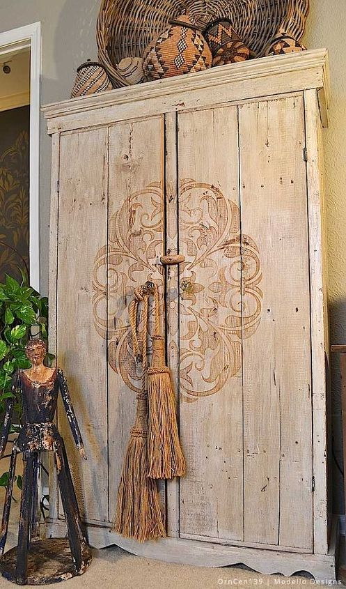 Stencil How To A Rustic Cabinet Makeover With Modello R Stencils Hometalk