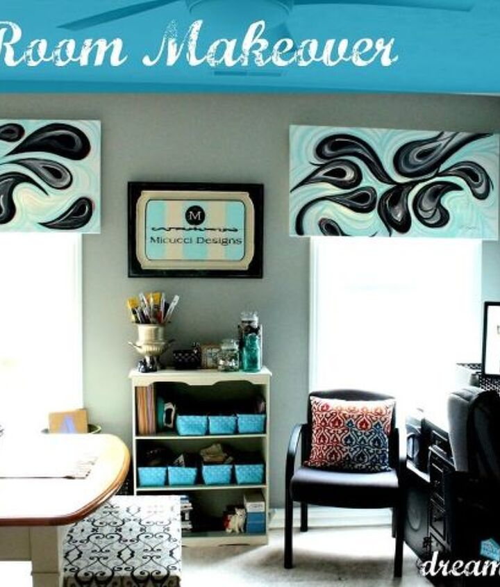 finished room with paintings for valances