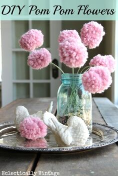 for my valentine a pom pom bouquet made with a fork, crafts, flowers, mason jars, valentines day ideas, Pom Pom Bouquet with a fork For full tutorial click here