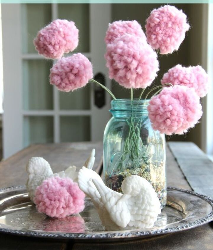 Pom Pom Bouquet - with a fork!  For full tutorial click here:  http://eclecticallyvintage.com/2013/01/how-to-make-a-pom-pom-flower-bouquet-with-a-fork/