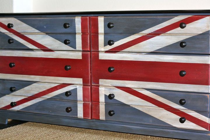 Traditional Union Jack painted in chalk paint, dark wax and heavy distressing.