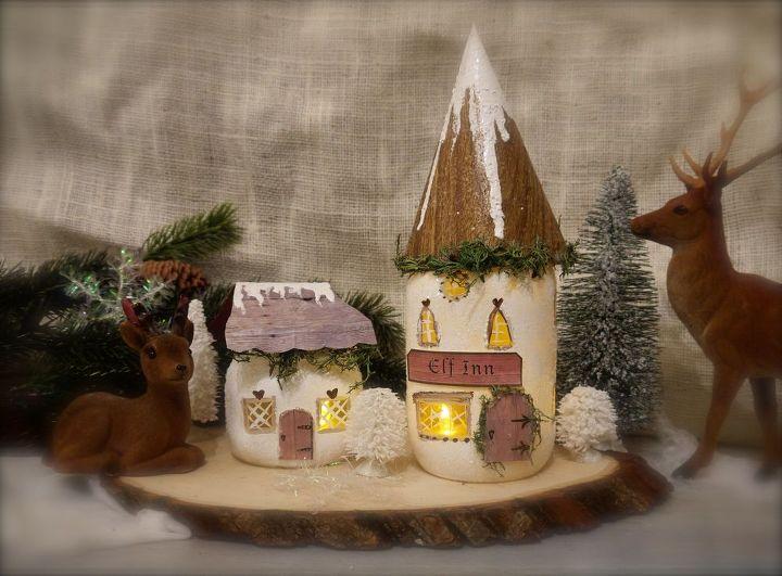how to make mason jar elf cottages, christmas decorations, crafts, mason jars, seasonal holiday decor