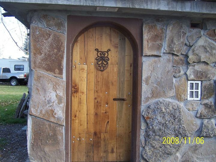 Door to pump house.  Made from oak crates.  It weighs 195 lbs.