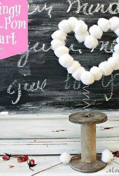 springy pom pom heart, crafts, valentines day ideas, Springy pom pom heart